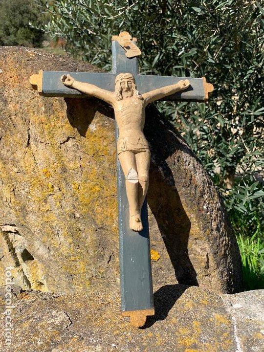 Arte: EXCEPCIONAL CRISTO en pasta de madera o estuco. Talleres De Olot. Pieza unica realizada por encargo. - Foto 7 - 195543971