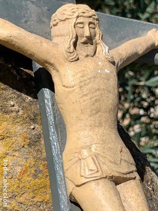 Arte: EXCEPCIONAL CRISTO en pasta de madera o estuco. Talleres De Olot. Pieza unica realizada por encargo. - Foto 9 - 195543971
