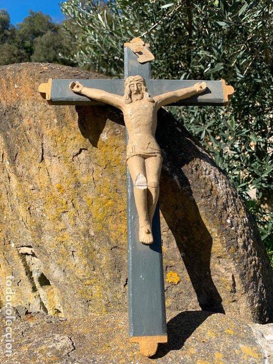Arte: EXCEPCIONAL CRISTO en pasta de madera o estuco. Talleres De Olot. Pieza unica realizada por encargo. - Foto 10 - 195543971