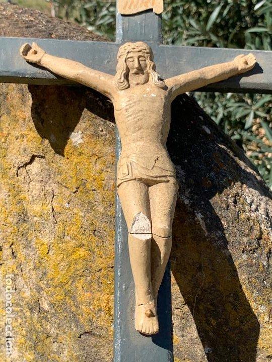 Arte: EXCEPCIONAL CRISTO en pasta de madera o estuco. Talleres De Olot. Pieza unica realizada por encargo. - Foto 11 - 195543971