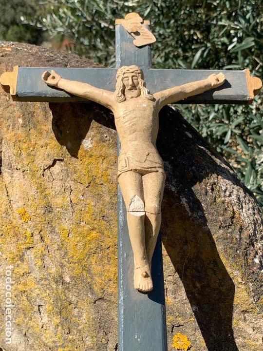 Arte: EXCEPCIONAL CRISTO en pasta de madera o estuco. Talleres De Olot. Pieza unica realizada por encargo. - Foto 12 - 195543971