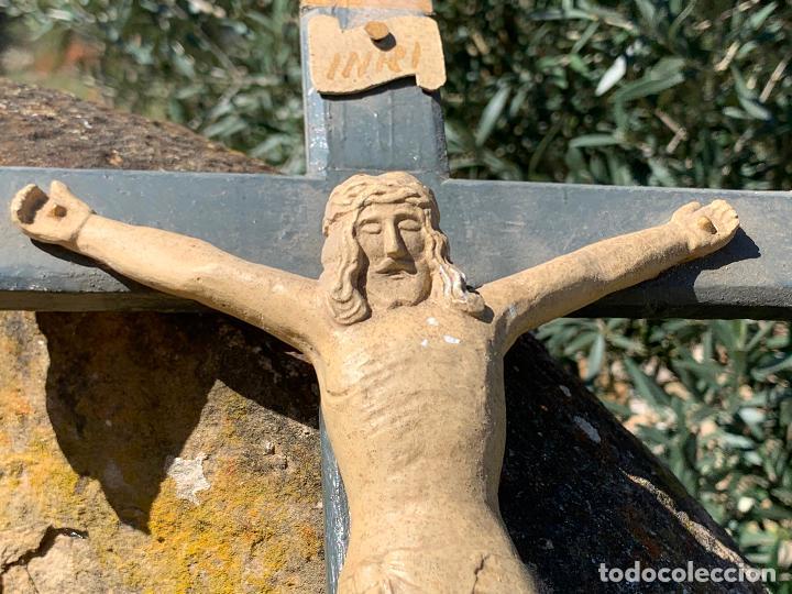 Arte: EXCEPCIONAL CRISTO en pasta de madera o estuco. Talleres De Olot. Pieza unica realizada por encargo. - Foto 13 - 195543971
