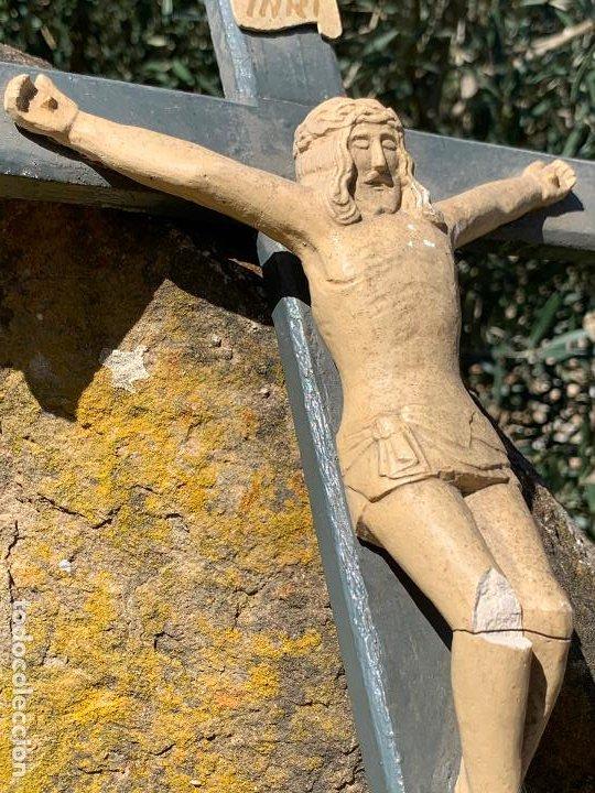 Arte: EXCEPCIONAL CRISTO en pasta de madera o estuco. Talleres De Olot. Pieza unica realizada por encargo. - Foto 14 - 195543971