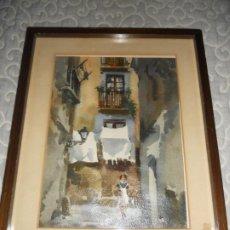 Arte: PRECIOSA ACUARELA AÑOS 70 CALLE DE BARCELONA. Lote 195553310