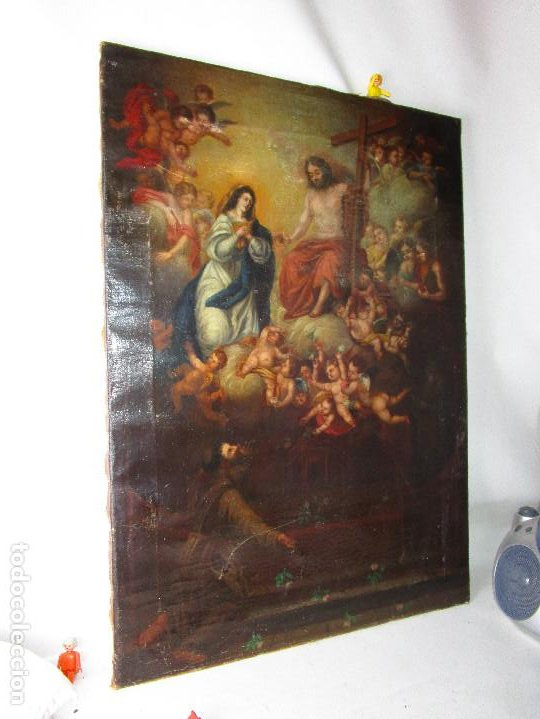 Arte: PRECIOSO CUADRO OLEO RELIGIOSO IMAGEN SAN ANTONIO VIRGEN CRISTO CRUZ APARICION SXVII - Foto 2 - 195589075