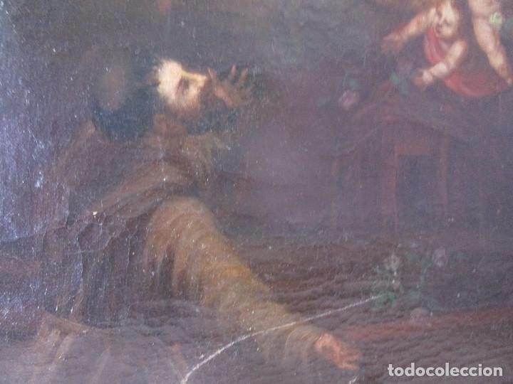 Arte: PRECIOSO CUADRO OLEO RELIGIOSO IMAGEN SAN ANTONIO VIRGEN CRISTO CRUZ APARICION SXVII - Foto 7 - 195589075