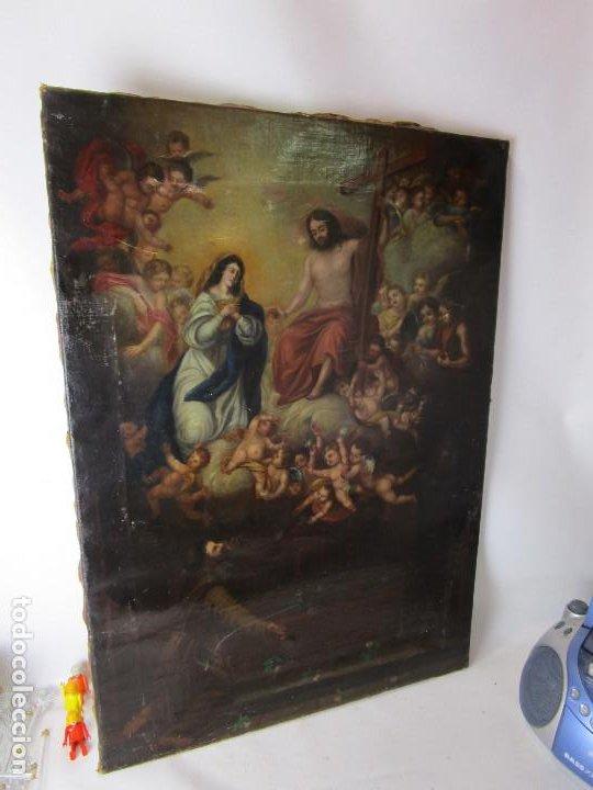 Arte: PRECIOSO CUADRO OLEO RELIGIOSO IMAGEN SAN ANTONIO VIRGEN CRISTO CRUZ APARICION SXVII - Foto 12 - 195589075