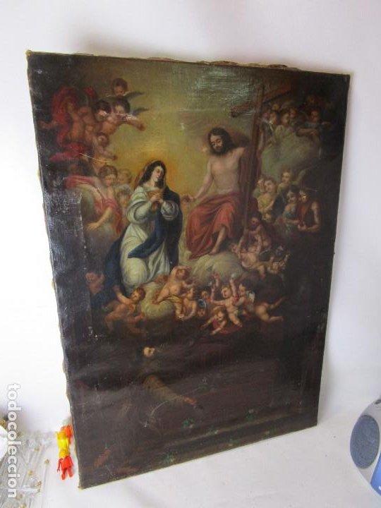 Arte: PRECIOSO CUADRO OLEO RELIGIOSO IMAGEN SAN ANTONIO VIRGEN CRISTO CRUZ APARICION SXVII - Foto 13 - 195589075