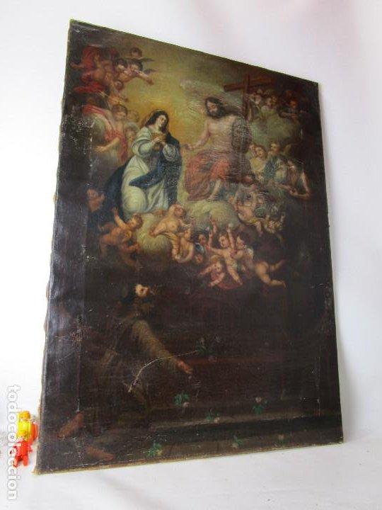 Arte: PRECIOSO CUADRO OLEO RELIGIOSO IMAGEN SAN ANTONIO VIRGEN CRISTO CRUZ APARICION SXVII - Foto 14 - 195589075