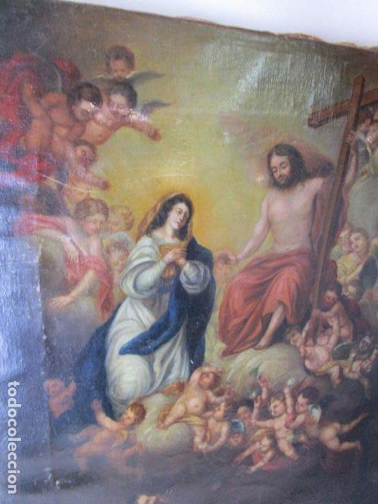 PRECIOSO CUADRO OLEO RELIGIOSO IMAGEN SAN ANTONIO VIRGEN CRISTO CRUZ APARICION SXVII (Arte - Arte Religioso - Pintura Religiosa - Oleo)