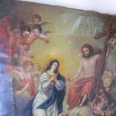 Arte: PRECIOSO CUADRO OLEO RELIGIOSO IMAGEN SAN ANTONIO VIRGEN CRISTO CRUZ APARICION SXVII. Lote 195589075