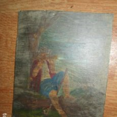 Arte: PINTURA AL OLEO EN CARTON PASTOR TOCANDO ARMONICA. Lote 195602300