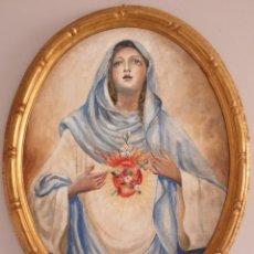 Arte: PEDRO REDONDO - SAGRADO CORAZÓN DE MARIA.OLEO/TELA.OVAL.FIRMADO.. Lote 195641020