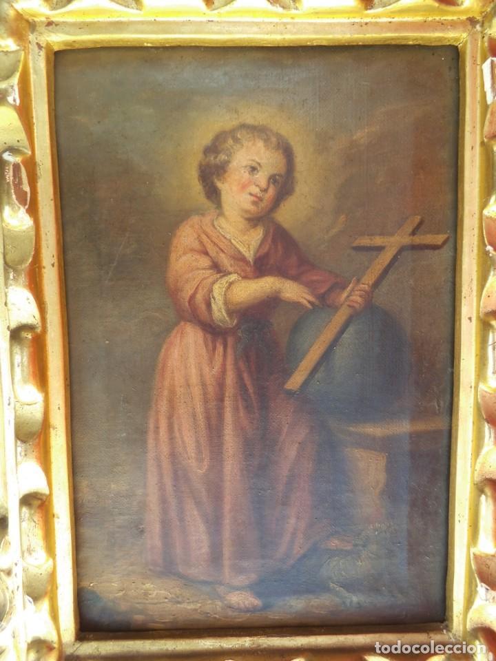 OLEO SOBRE LIENZO DEL NIÑO JESÚS, SIGLO XVIII (Arte - Arte Religioso - Pintura Religiosa - Oleo)