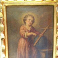 Arte: OLEO SOBRE LIENZO DEL NIÑO JESÚS, SIGLO XVIII. Lote 195744845