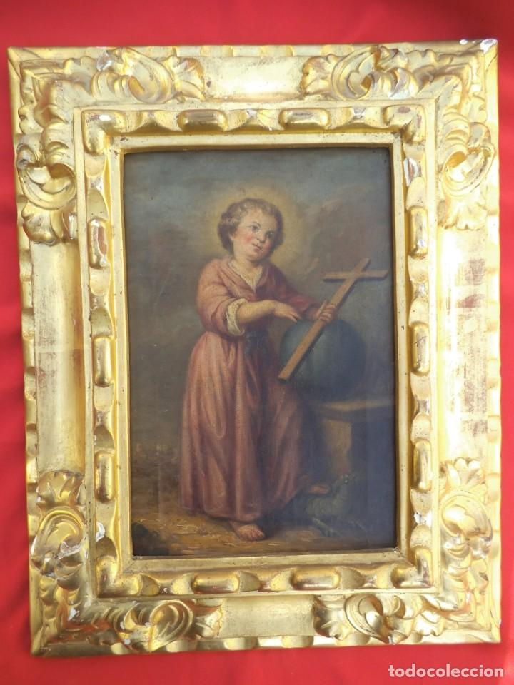 Arte: Oleo sobre lienzo del niño Jesús, siglo xviii - Foto 2 - 195744845
