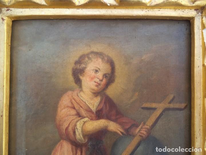 Arte: Oleo sobre lienzo del niño Jesús, siglo xviii - Foto 3 - 195744845