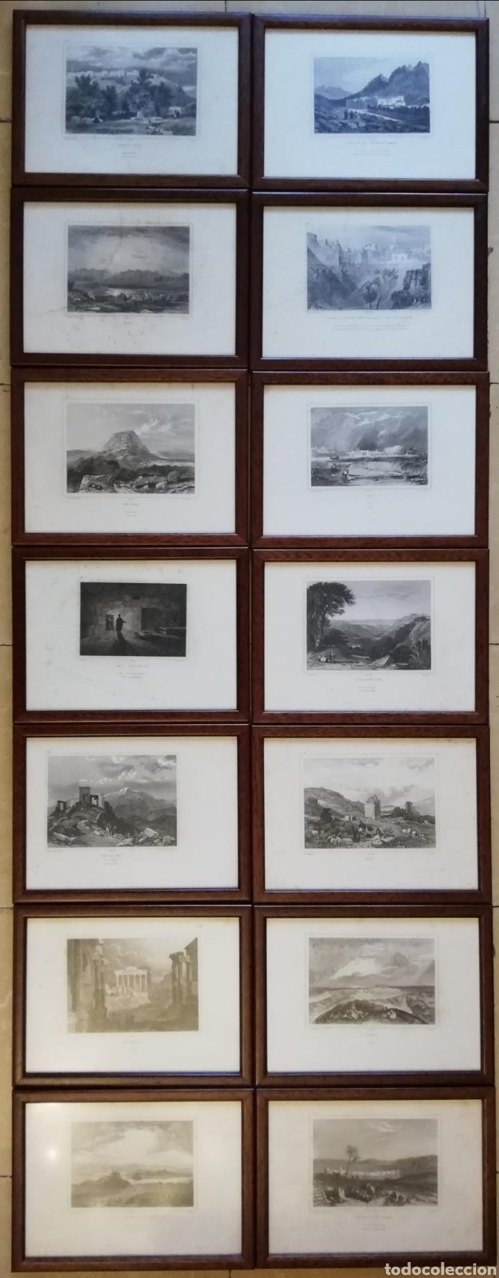 Arte: 14 cuadros con GRABADOS ENMARCADOS - 27 cm x 20 cm - marco nogal - cristal mate - MUY BUEN ESTADO - Foto 17 - 195785210