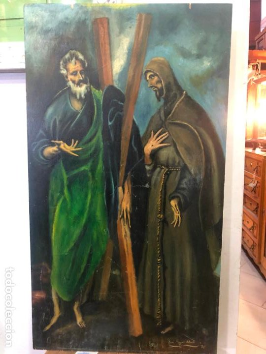 OLEO SOBRE TABLA IMAGEN DE SAN ANDRES Y SAN FRANCISCO - MEDIDA 90X50 CM - FIRMANDO MIGUEL ABAD (Arte - Arte Religioso - Pintura Religiosa - Oleo)