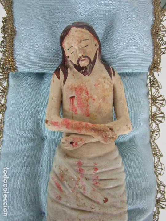 Arte: Antiguo Cristo Yacente - Terracota Policromada - con Urna de Cristal - S. XIX - Foto 7 - 195927678