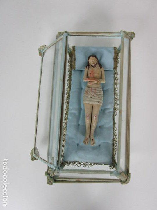 Arte: Antiguo Cristo Yacente - Terracota Policromada - con Urna de Cristal - S. XIX - Foto 8 - 195927678