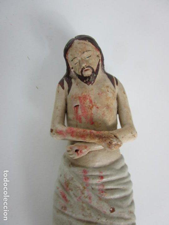 Arte: Antiguo Cristo Yacente - Terracota Policromada - con Urna de Cristal - S. XIX - Foto 10 - 195927678