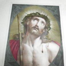 Arte: ECCE HOMO. JESUCRISTO. ANTIGUA LITOGRAFIA GRABADO. TRAZOS BRILLANTES. S. XIX. GRANDE. Lote 31089759