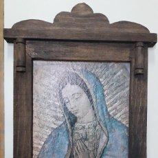 Arte: VIRGEN DE GUADALUPE LÁMINA? 26X38CM. ENMARCADA 41X60CM.. Lote 195948267