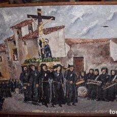 Arte: ÓLEO SOBRE LIENZO SEMANA SANTA ARAGÓN 92X147CM.. Lote 195948322