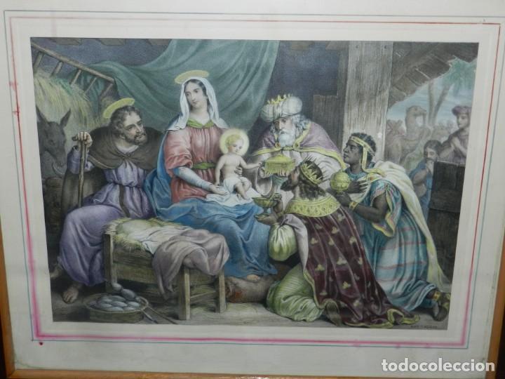 (M) GRABADO ILUMINADO RELIGIOSO S.XIX ENMARCADO DE ÉPOCA - 61X52CM, BUEN ESTADO (Arte - Arte Religioso - Grabados)