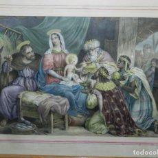 Arte: (M) GRABADO ILUMINADO RELIGIOSO S.XIX ENMARCADO DE ÉPOCA - 61X52CM, BUEN ESTADO. Lote 196062000