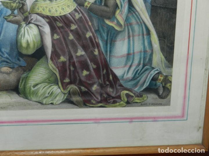Arte: (M) GRABADO ILUMINADO RELIGIOSO S.XIX ENMARCADO DE ÉPOCA - 61X52CM, BUEN ESTADO - Foto 4 - 196062000