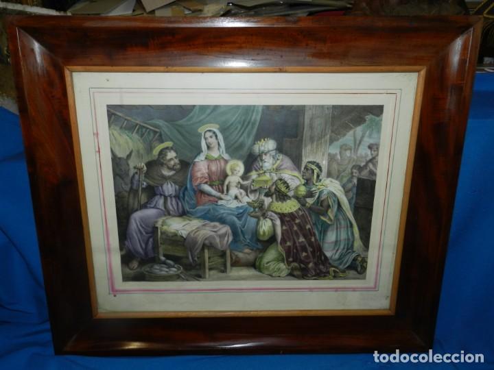 Arte: (M) GRABADO ILUMINADO RELIGIOSO S.XIX ENMARCADO DE ÉPOCA - 61X52CM, BUEN ESTADO - Foto 5 - 196062000