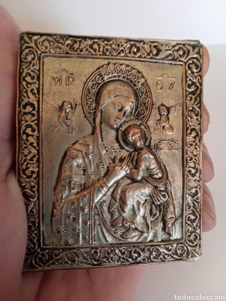 IMPORTANTE ICONO RUSO DE VIAJE - SIGLO XVIII - VIRGEN CON NIÑO - GRABADOS DE GRAN DETALLE Y BELLEZA (Arte - Arte Religioso - Iconos)