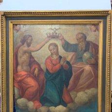 Arte: LA CORONACION DE LA VIRGEN, IMPORTANTE OLEO SOBRE TABLA MUY ANTIGUO, SELLO SALA GASPAR. MAGNÍFICO. Lote 196161117