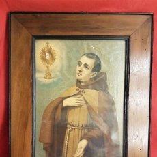 Arte: MARCO ISABELINO DE CAOBA S,XIX ,CON LITOGRAFÍA ORIGINAL DE UN SANTO MEDIDAS DEL MARCO 59 X 47. Lote 196204606