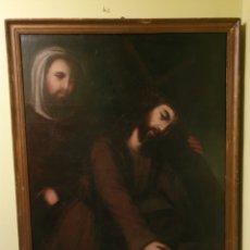 Arte: GRAN OLEO SOBRE LIENZO MEDIDAS TOTALES 112X92 JESUCRISTO AYUDADO POR CIRINEO S.XVIII. Lote 160186736