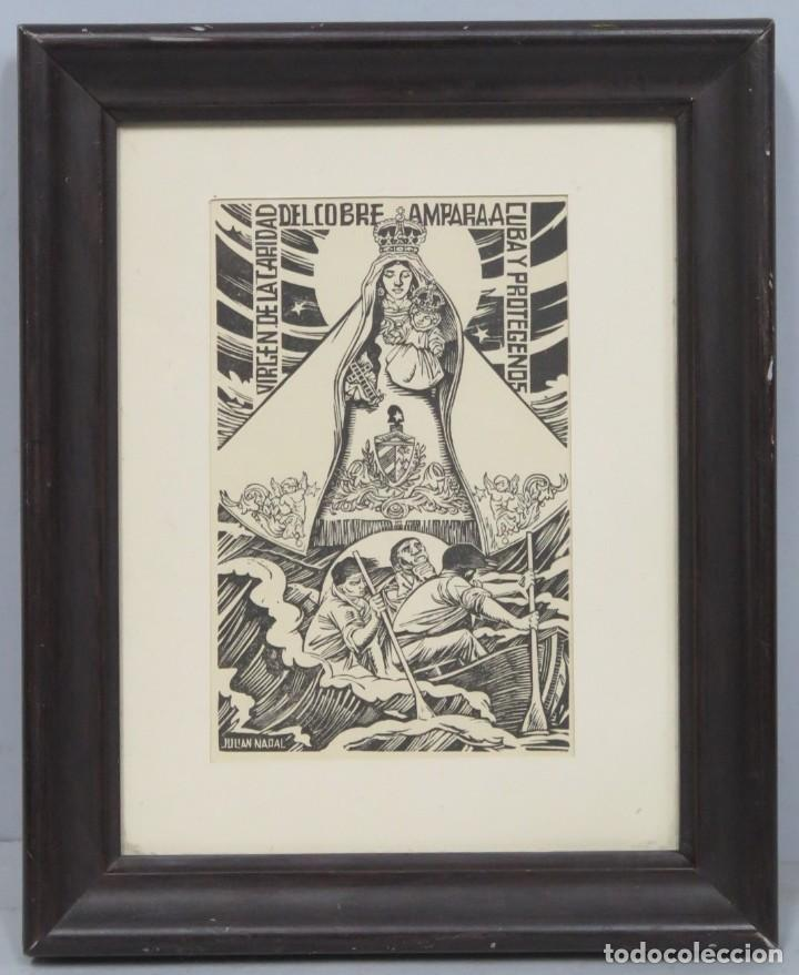 XILOGRAFIA VIRGEN DEL COBRE. JULIAN NADAL (Arte - Arte Religioso - Litografías)