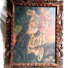 Arte: SANTA ROSA CON ANGEL GUARDIAN OLEO S XIX. MED. 40 X 50 CM. Lote 196247877