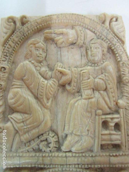 Arte: Icono, Plaqueta Románica - Talla en Hueso - San Millán - Arca Relicario, San Millán (La Rioja) - Foto 3 - 196285186