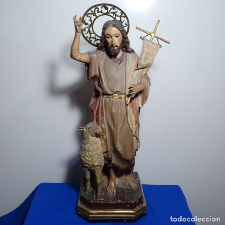 ESCULTURA DE, SIGLO XIX DE MADERA DE TOMÀS PICAS.CON POLICROMIA.SANTO CON OVEJA. (Arte - Arte Religioso - Escultura)