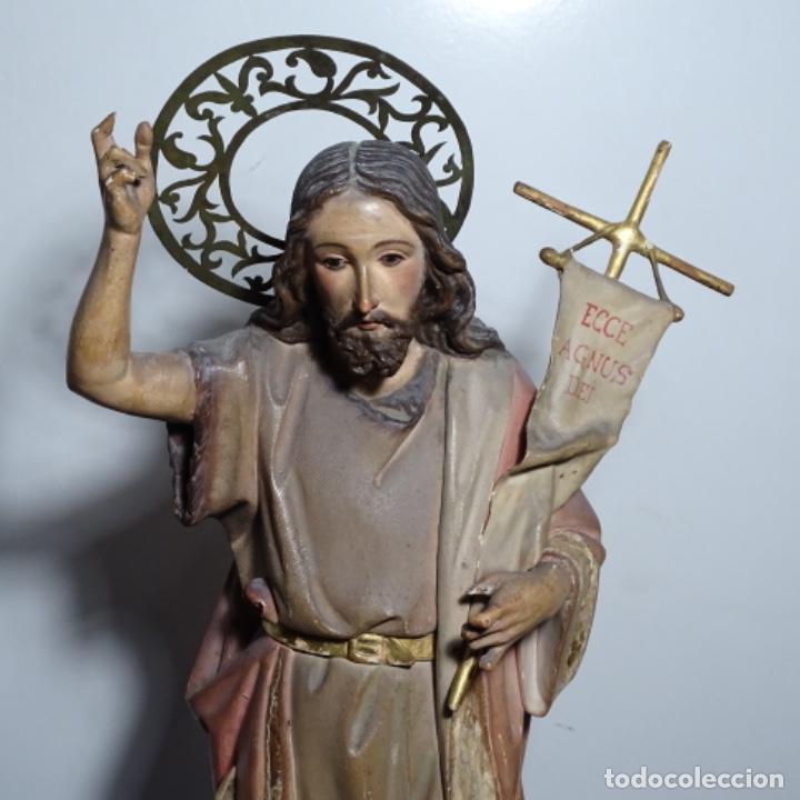 Arte: Escultura de, siglo xix de madera de Tomàs picas.con policromia.santo con oveja. - Foto 2 - 196318200
