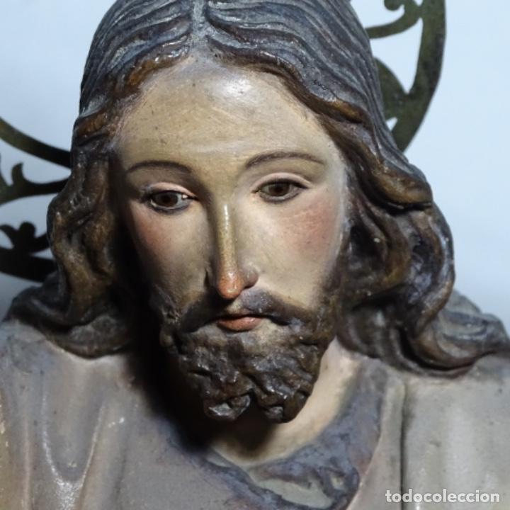 Arte: Escultura de, siglo xix de madera de Tomàs picas.con policromia.santo con oveja. - Foto 6 - 196318200