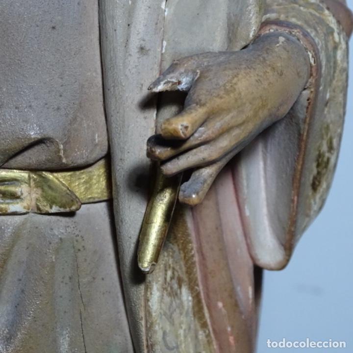 Arte: Escultura de, siglo xix de madera de Tomàs picas.con policromia.santo con oveja. - Foto 7 - 196318200