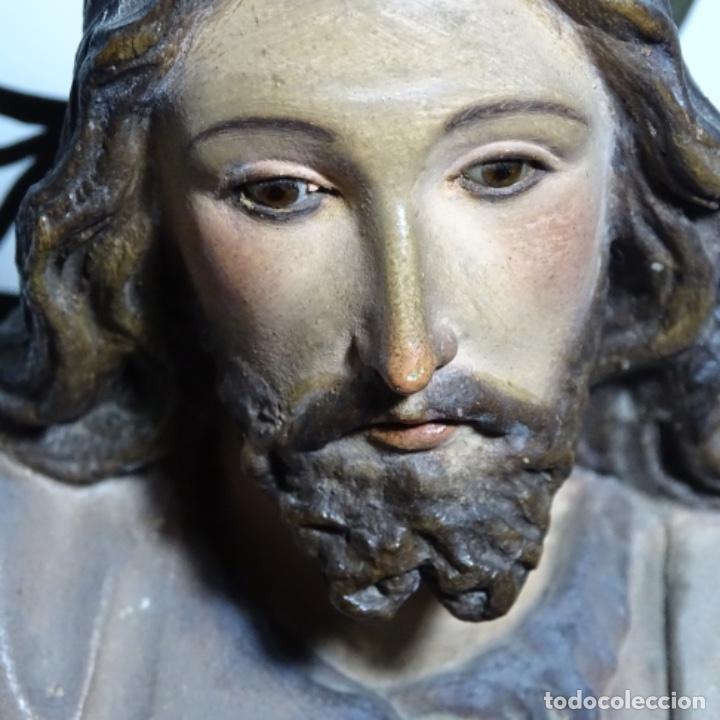 Arte: Escultura de, siglo xix de madera de Tomàs picas.con policromia.santo con oveja. - Foto 9 - 196318200