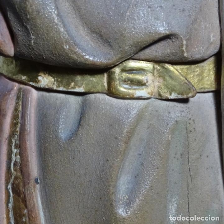 Arte: Escultura de, siglo xix de madera de Tomàs picas.con policromia.santo con oveja. - Foto 10 - 196318200