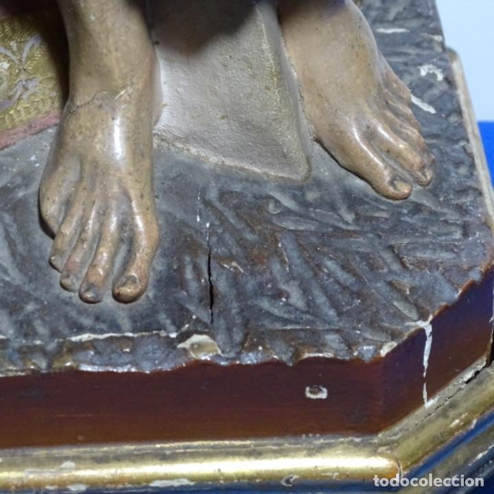 Arte: Escultura de, siglo xix de madera de Tomàs picas.con policromia.santo con oveja. - Foto 11 - 196318200