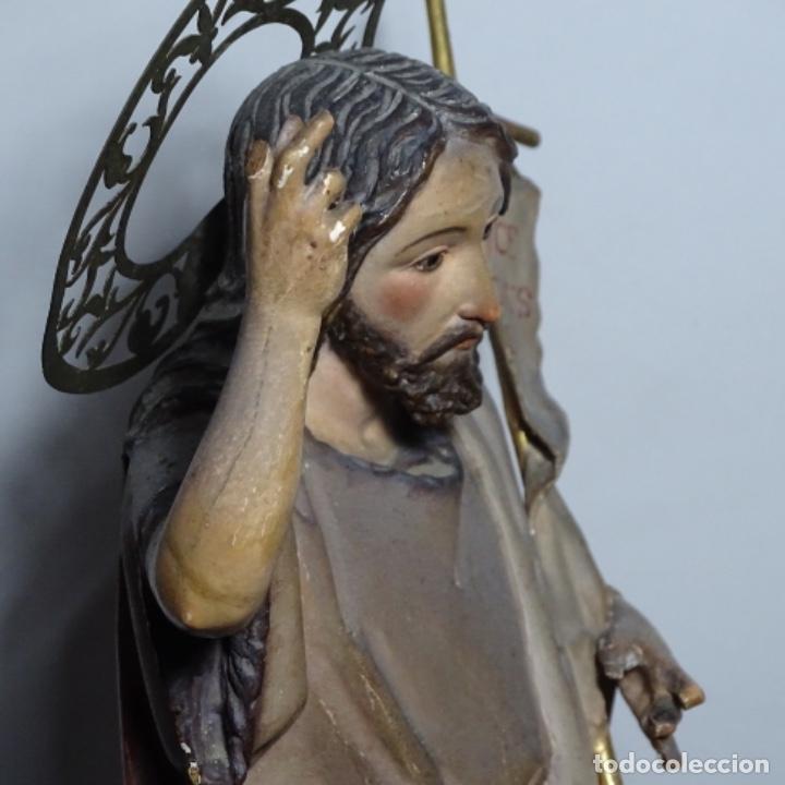 Arte: Escultura de, siglo xix de madera de Tomàs picas.con policromia.santo con oveja. - Foto 15 - 196318200