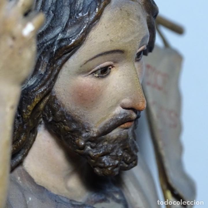 Arte: Escultura de, siglo xix de madera de Tomàs picas.con policromia.santo con oveja. - Foto 16 - 196318200