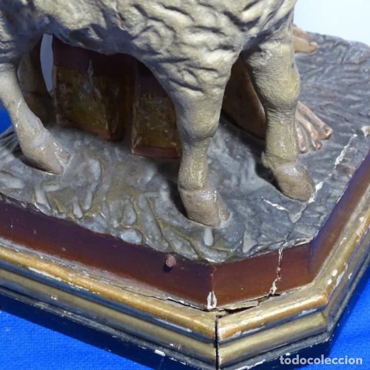 Arte: Escultura de, siglo xix de madera de Tomàs picas.con policromia.santo con oveja. - Foto 20 - 196318200